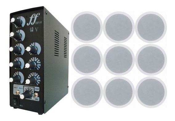 Kit 9 Caixa Som Embutir Arandela + Amplificador Setorizador