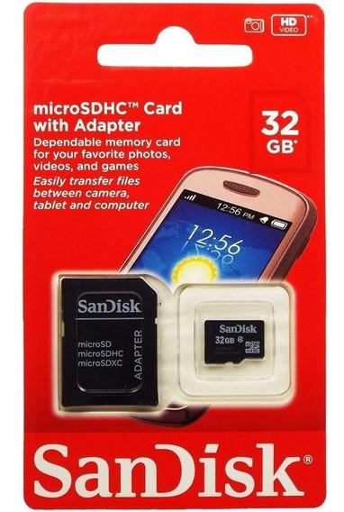 Cartão Micro Sd Sandisk Com Adaptador 32gb Classe 4