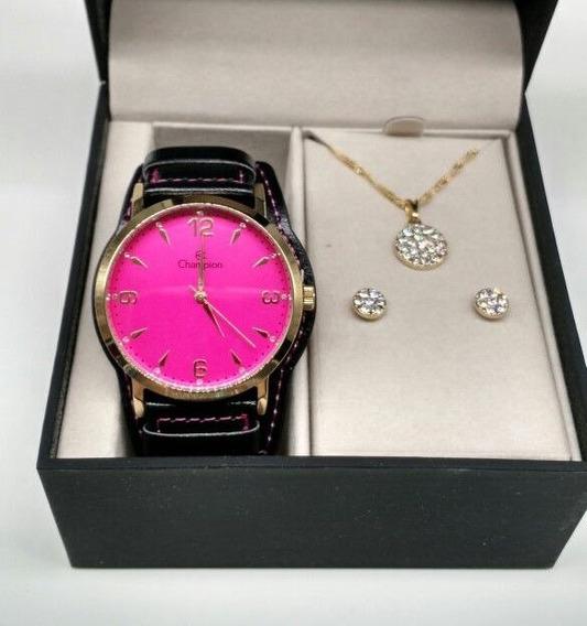 Kit Relógio Champion Feminino Dourado Visor Rosa Cn20328j