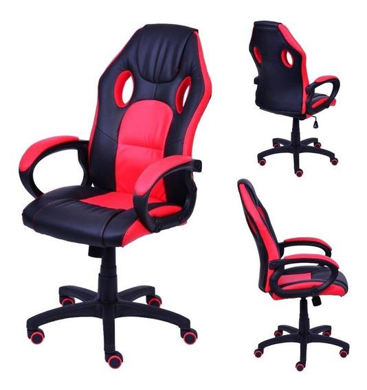 Cadeira Gamer E-sports Design Conforto Vermelho Jogos Braços