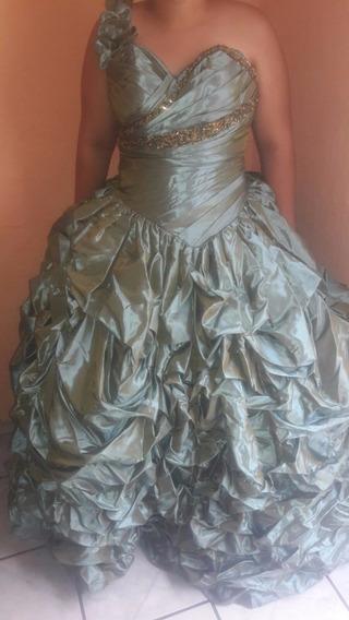 Vestido 15 Xv Años Quinceañera Quince Años Verde Metalico
