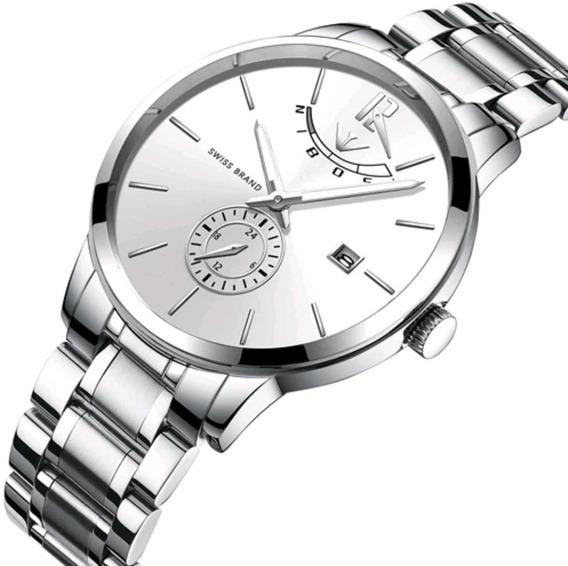 Relógio Masculino Nibosi 2318 Original Prata Com Fundo Prata