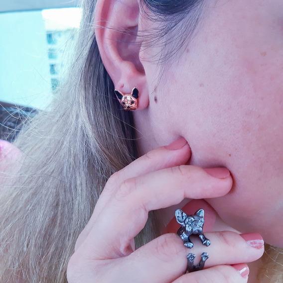 Brinco Ajustável +anel Feminino Bulldog Francês 3d