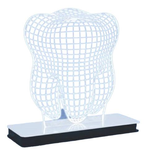 Imagem 1 de 2 de Abajour Decorativo 3d Led Modelo Dente 1 Unidade
