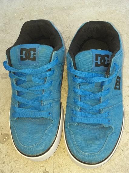 Zapatilla Dc Pure Color Azul Acero Talle 39 En Buen Estado