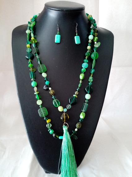 Collar De Auténtico Cristal Checo Zava Beads Verde