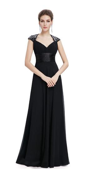 Vestido De Quince-fiesta- Egreso Negro Talle M (mod.55)
