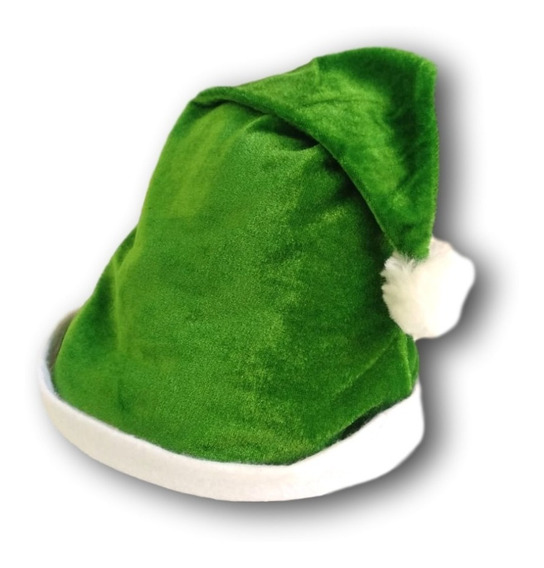 Gorro Navideño Santa Claus Verde Terciopelo Navidad Posadas