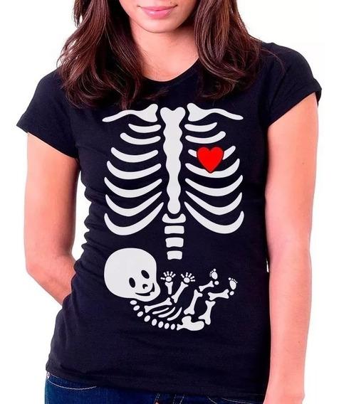 Camisa Camiseta Baby Look Gravida Gestante Raio X Esqueleto