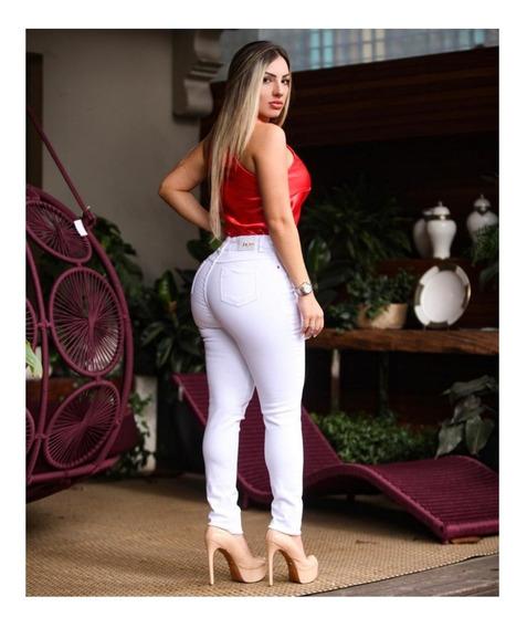 Calça Jeans Feminina Branca Cintura Alta