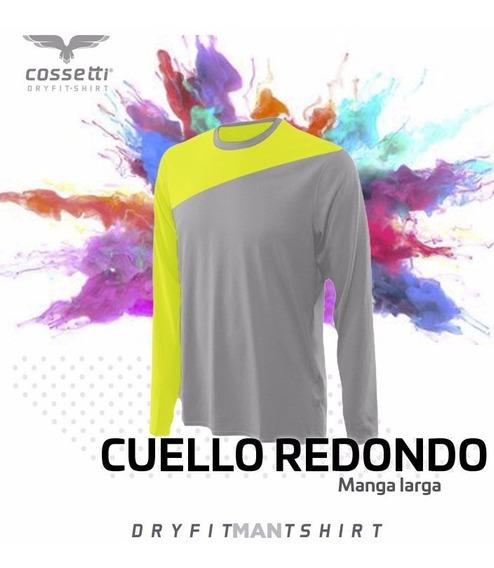 Playera Cuello Redondo Cossetti Manga Larga Dryfit Crossline