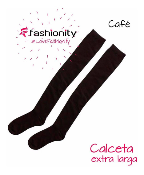 Calceta Larga Over Knee Negro Blanco Vino Cafe