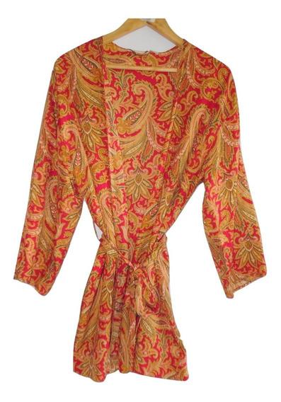 Victorias Secret Colección Retro Bata Kimono Dorada Satin S