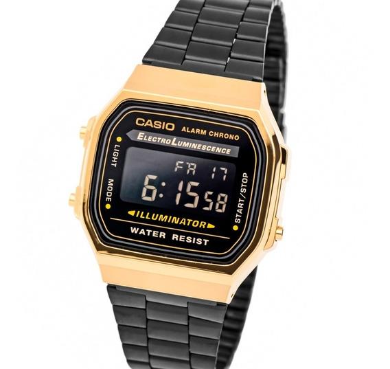 Relógio De Pulso Retro Dourado Preto A168 Unisex Vintage Top