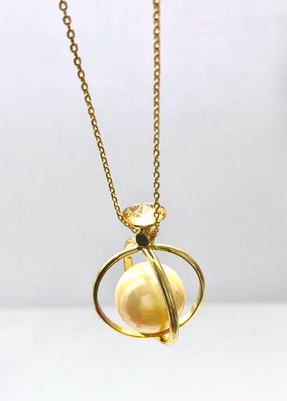 Hermoso Collar De.perla Con Cristal Austriaco Oro Laminado.