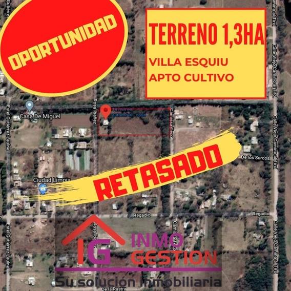 11.300 M2 Excelente Terreno Esquina Junto A Canal De Riego