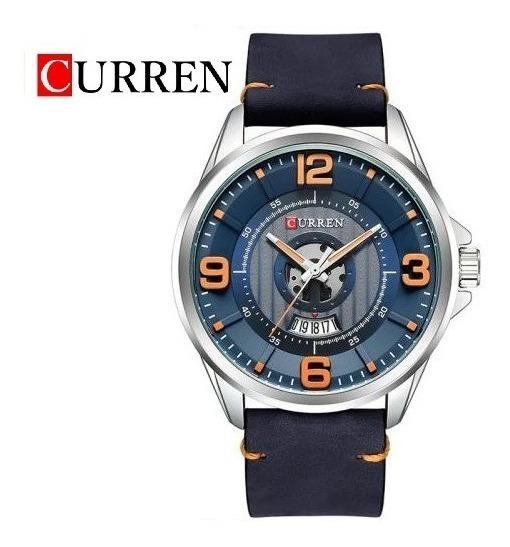Reloj Curren Analógico Fechador Original Piel 3 Atm 8305