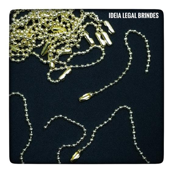 180 Correntes Bolinha P/ Tag Brindes 2,5mm C/ 8cm Douradas