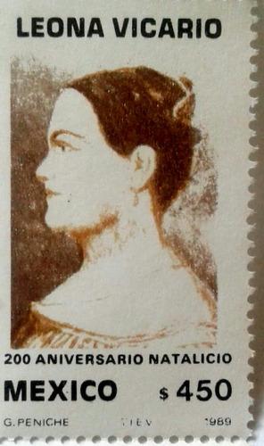 Imagen 1 de 3 de Timbres Postales Mexico Leona Vicario 200 Aniversario