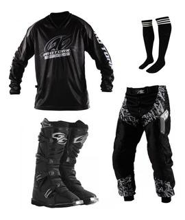 Conjuto Roupa Calça + Camisa + Bota Protork Trilha Motocross