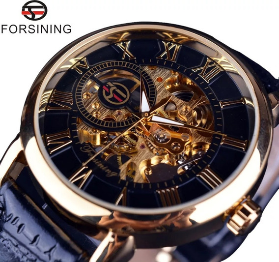 Relógio Masculino Mecânico Forsining Skeleton Dourado Preto