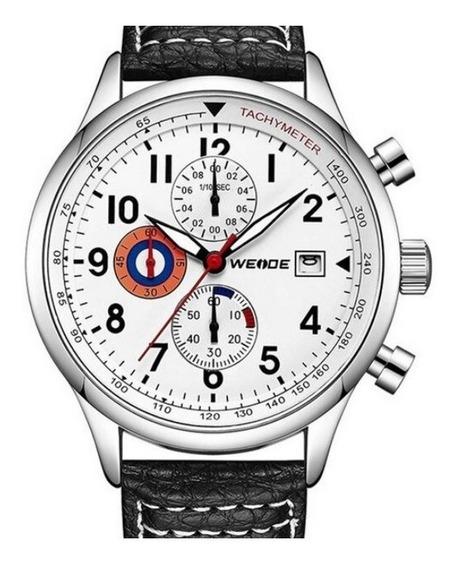 Relógio Masculino Weide Analógico Wd010 - Preto E Prata