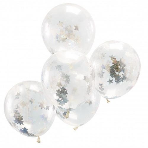Set De 6 Globos De Latex R12 Con Confeti Plateado