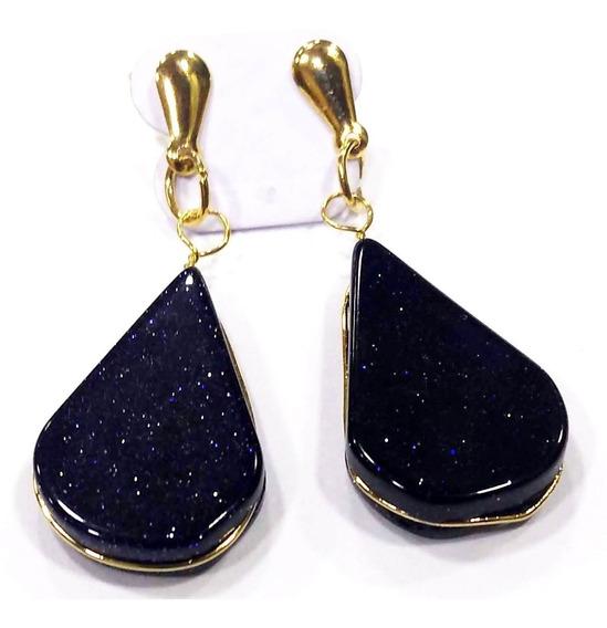 Brinco Gota Pedra Das Estrelas Folheado À Ouro Boas Energias
