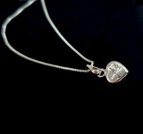 Colar Feminino Ponto De Luz Coração Delicado Em Prata 925