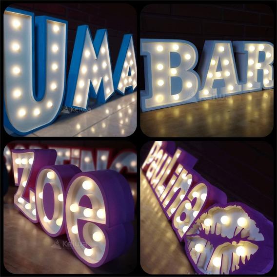 Nombre Cartel Luminoso 3 Letras Led Polifan Eventos Candybar