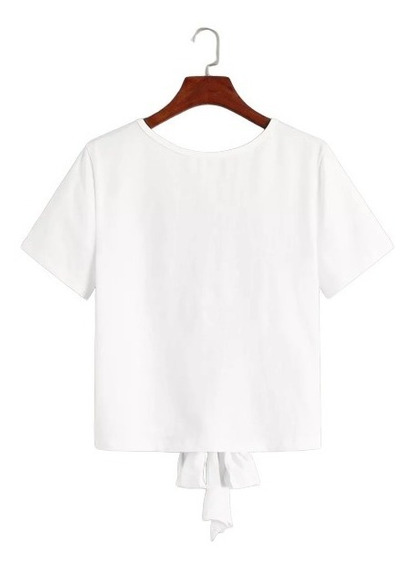 Blusa Sexy Unicolor Espalda Abierta Con Cordón Manga Corta