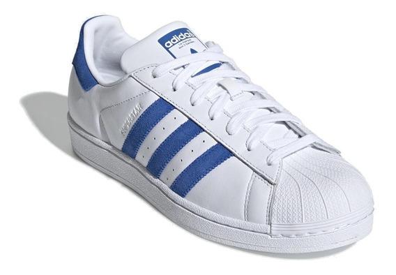 Tênis adidas Superstar Branco Com Azul