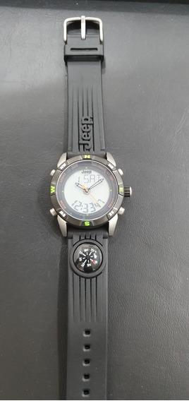 Relógio Jeep Pulseira De Silicone Com Bússola Anadig