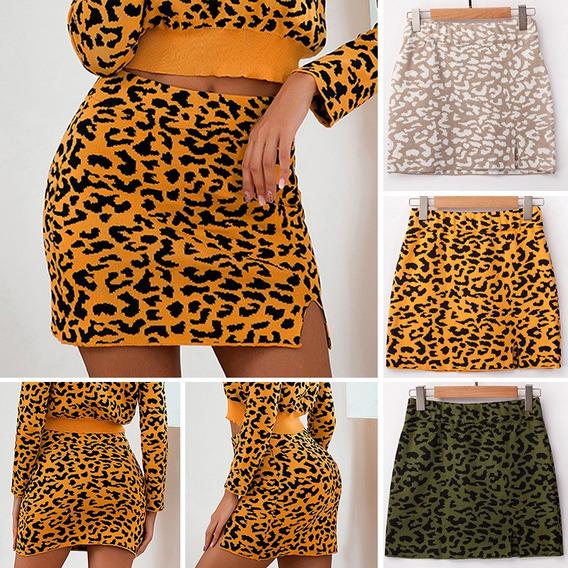 Las Mujeres De La Moda De Punto Mini Falda Leopardo Elástic