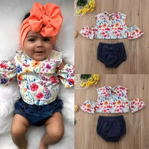 c7abe298 Ropa Para Bebe Niña Hermosa Moda Conjunto Estampado Flores - $ 360.00 en  Mercado Libre