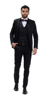 Camisa Slim Fit Con Traje Satinado Zapatos De Vestir Y Cinto