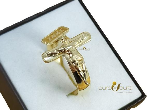 Anel Masculino Ouro 18k Especial Cruz Crucifixo Luxo Top