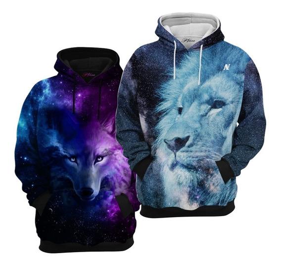 2 Blusas De Frio Moletom Leão Galáxia Black E Lobo Galáxia