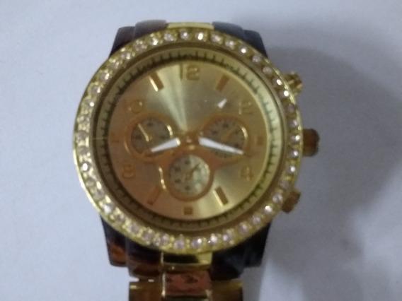 Relógio Feminino Marrom E Dourado,frete Grátis!!