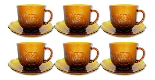 Imagem 1 de 6 de Kit Xicara Pires Café Chá 12 Peças Vidro Com Suporte 200ml