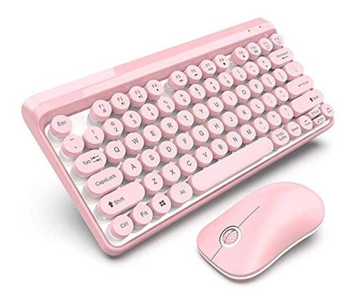 Teclado Inalámbrico Ratón Combo 2.4g  (rosa).