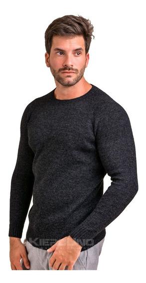 Sweater Hombre Lana Cuello Redondo S/ Costura Negro Kierouno