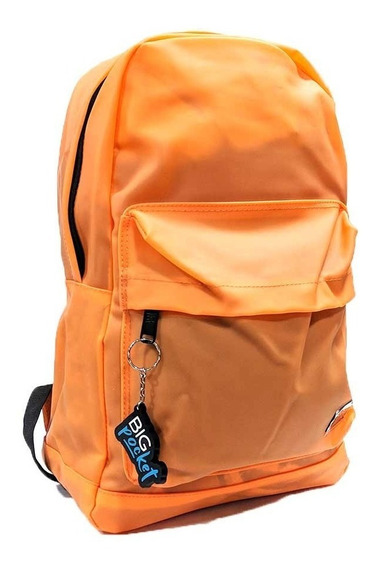 Mochila Escolar Big Pocket 17p Goma Pvc Ppr Original Naranja
