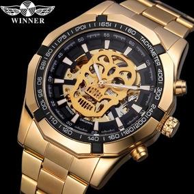 Relógio Automático Winner Esqueleto Crânio Original
