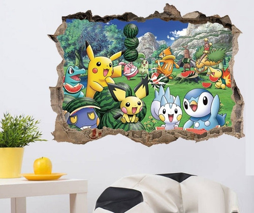 Decoración Cuarto Afiche Lavable Vinil Decorativo Pokemon