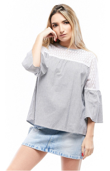 Blusa Chambray Rayas Manga 3/4 Dama Rose Fashion