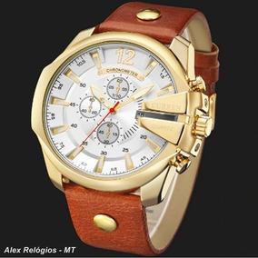 Relógio Curren 8176 Grande Masculino Pulseira Couro