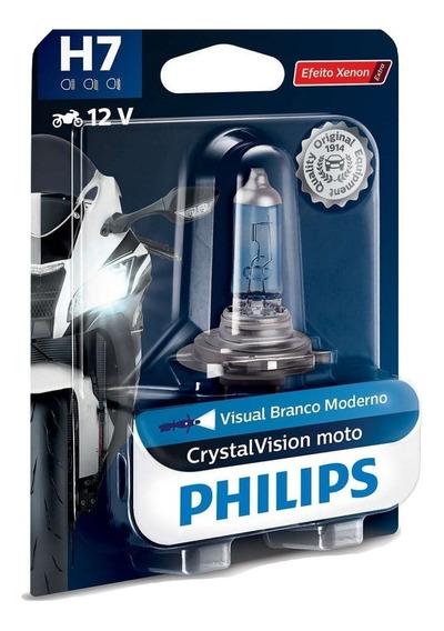 Lâmpada Philips Crystal Vision Moto H7 4300k Efeito Xenon