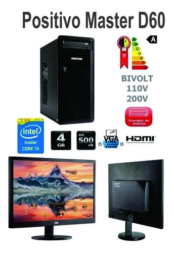 Imagem 1 de 3 de Desktop Positivo D60 I3-3.6ghz 4gb Hd500gb C/ Monitor LG 20