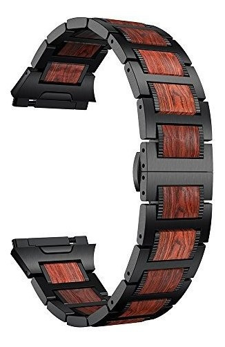 Ldfas Fitbit Ionic Band, Madera Natural Rojo Sándalo Negro A